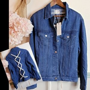 JEAN JACKET WITH LACE TIE UP BACK NWT Sz M